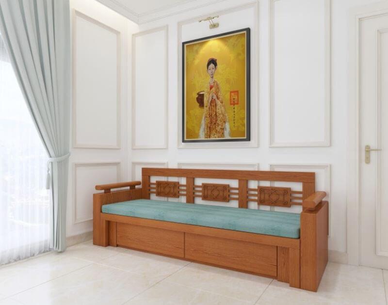 Bộ ghế sofa giường gỗ đa năng vừa dùng tiếp khách vừa là chiếc giường giúp bạn nằm thoải mái sau những giờ làm việc căng thẳng